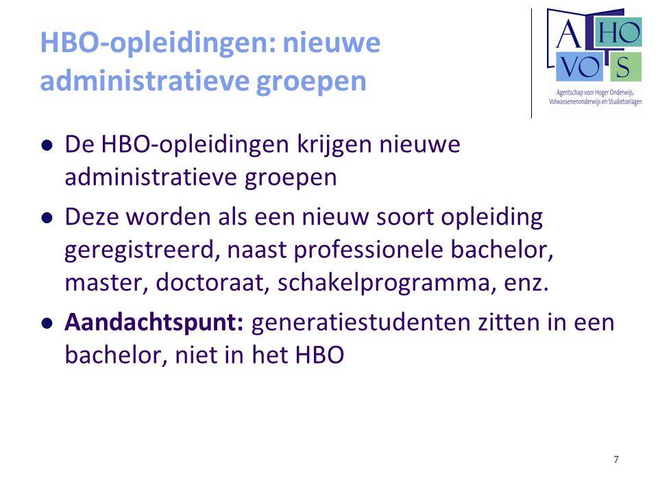 7 HBO-opleidingen: nieuwe administratieve groepen De HBO-opleidingen krijgen nieuwe administratieve groepen Deze worden als een nieuw soort opleiding geregistreerd, naast professionele bachelor, master, doctoraat, schakelprogramma, enz.