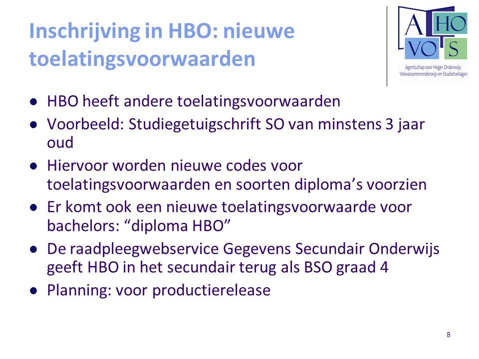 8 Inschrijving in HBO: nieuwe toelatingsvoorwaarden HBO heeft andere toelatingsvoorwaarden Voorbeeld: Studiegetuigschrift SO van minstens 3 jaar oud Hiervoor worden nieuwe codes voor toelatingsvoorwaarden en soorten diploma's voorzien Er komt ook een nieuwe toelatingsvoorwaarde voor bachelors: diploma HBO De raadpleegwebservice Gegevens Secundair Onderwijs geeft HBO in het secundair terug als BSO graad 4 Planning: voor productierelease