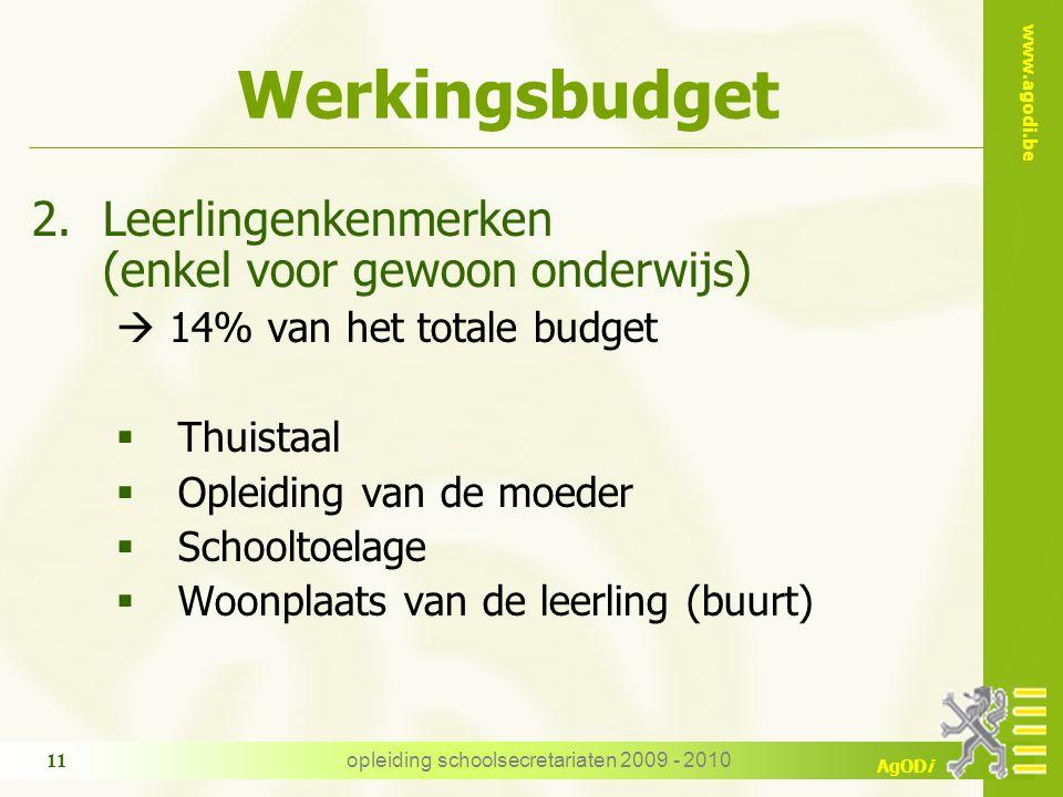 www.agodi.be AgODi opleiding schoolsecretariaten 2009 - 2010 11 Werkingsbudget 2.Leerlingenkenmerken (enkel voor gewoon onderwijs)  14% van het total
