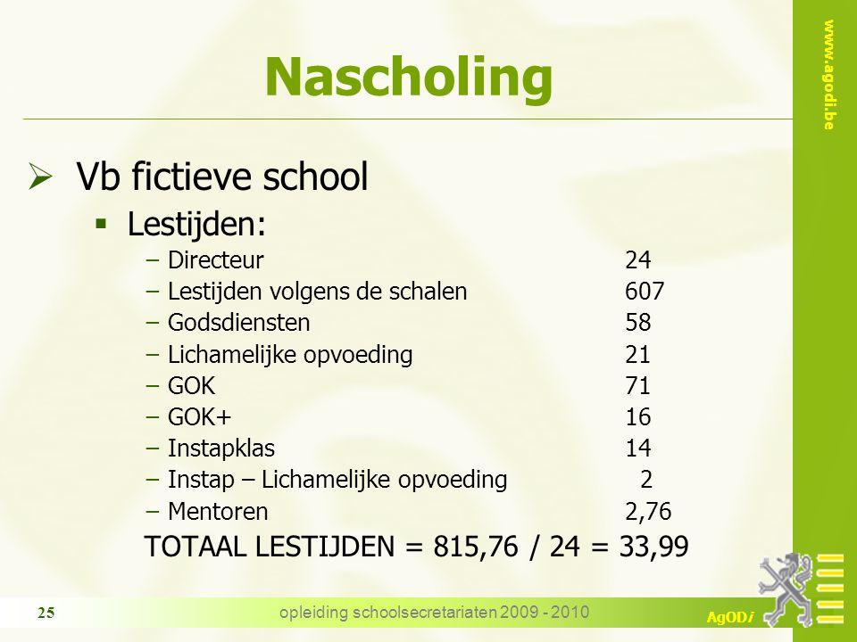 www.agodi.be AgODi opleiding schoolsecretariaten 2009 - 2010 25 Nascholing  Vb fictieve school  Lestijden: −Directeur24 −Lestijden volgens de schale