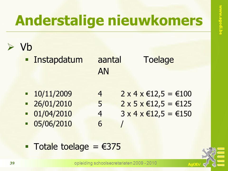 www.agodi.be AgODi opleiding schoolsecretariaten 2009 - 2010 39 Anderstalige nieuwkomers  Vb  Instapdatumaantal Toelage AN  10/11/200942 x 4 x €12,
