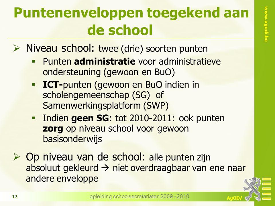 www.agodi.be AgODi opleiding schoolsecretariaten 2009 - 2010 12 Puntenenveloppen toegekend aan de school  Niveau school: twee (drie) soorten punten 