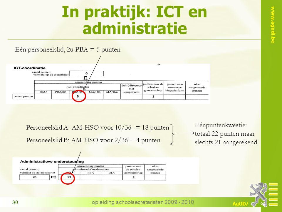 www.agodi.be AgODi opleiding schoolsecretariaten 2009 - 2010 30 Eén personeelslid, 2u PBA = 5 punten In praktijk: ICT en administratie 62 Personeelsli