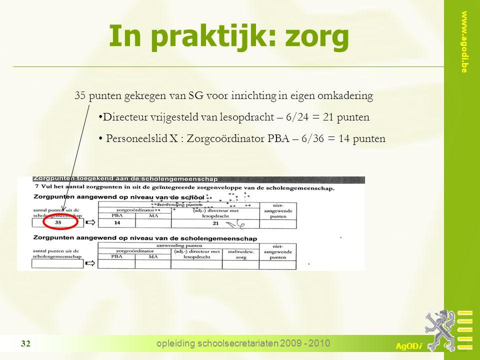 www.agodi.be AgODi opleiding schoolsecretariaten 2009 - 2010 32 In praktijk: zorg 62 35 punten gekregen van SG voor inrichting in eigen omkadering Dir
