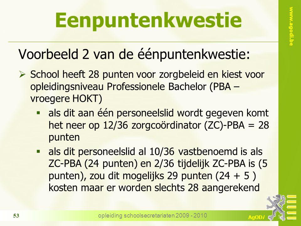 www.agodi.be AgODi opleiding schoolsecretariaten 2009 - 2010 53 Eenpuntenkwestie Voorbeeld 2 van de éénpuntenkwestie:  School heeft 28 punten voor zo