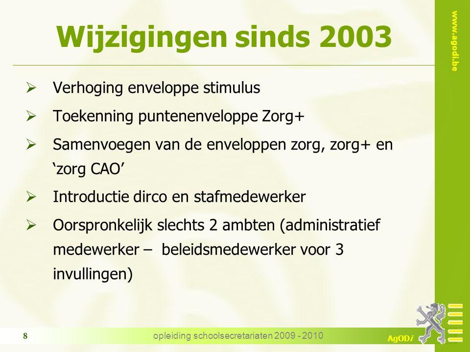 www.agodi.be AgODi opleiding schoolsecretariaten 2009 - 2010 8 Wijzigingen sinds 2003  Verhoging enveloppe stimulus  Toekenning puntenenveloppe Zorg