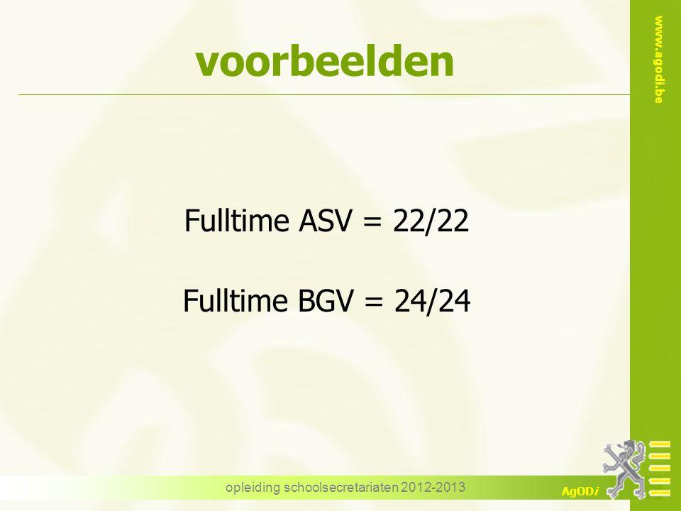www.agodi.be AgODi opleiding schoolsecretariaten 2012-2013 voorbeelden Fulltime ASV = 22/22 Fulltime BGV = 24/24