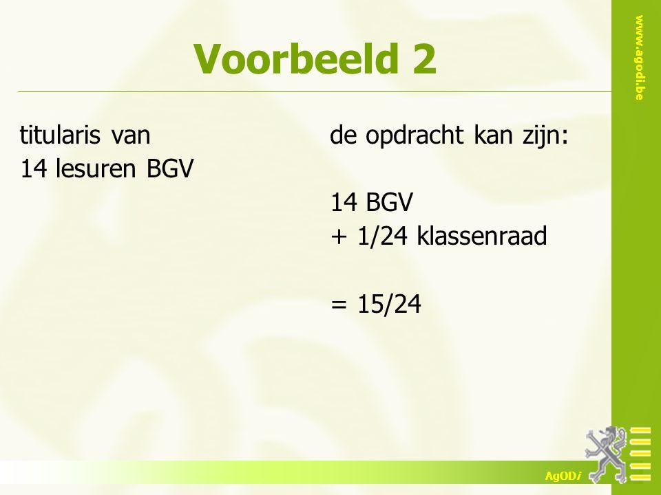 www.agodi.be AgODi Voorbeeld 2 titularis van 14 lesuren BGV de opdracht kan zijn: 14 BGV + 1/24 klassenraad = 15/24