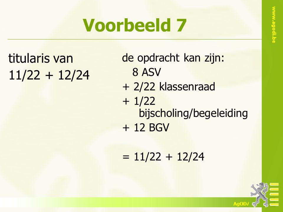 www.agodi.be AgODi Voorbeeld 7 titularis van 11/22 + 12/24 de opdracht kan zijn: 8 ASV + 2/22 klassenraad + 1/22 bijscholing/begeleiding + 12 BGV = 11