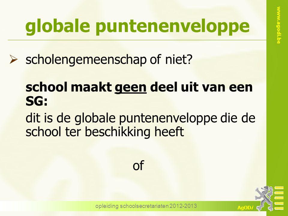 www.agodi.be AgODi opleiding schoolsecretariaten 2012-2013 globale puntenenveloppe  scholengemeenschap of niet? school maakt geen deel uit van een SG
