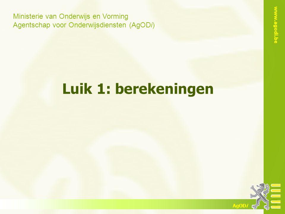 www.agodi.be AgODi Voorbeeld 7 titularis van 11/22 + 12/24 de opdracht kan zijn: 8 ASV + 2/22 klassenraad + 1/22 bijscholing/begeleiding + 12 BGV = 11/22 + 12/24