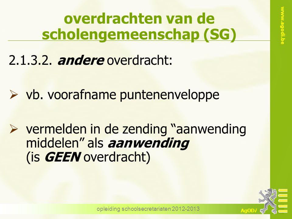 www.agodi.be AgODi opleiding schoolsecretariaten 2012-2013 overdrachten van de scholengemeenschap (SG) 2.1.3.2. andere overdracht:  vb. voorafname pu