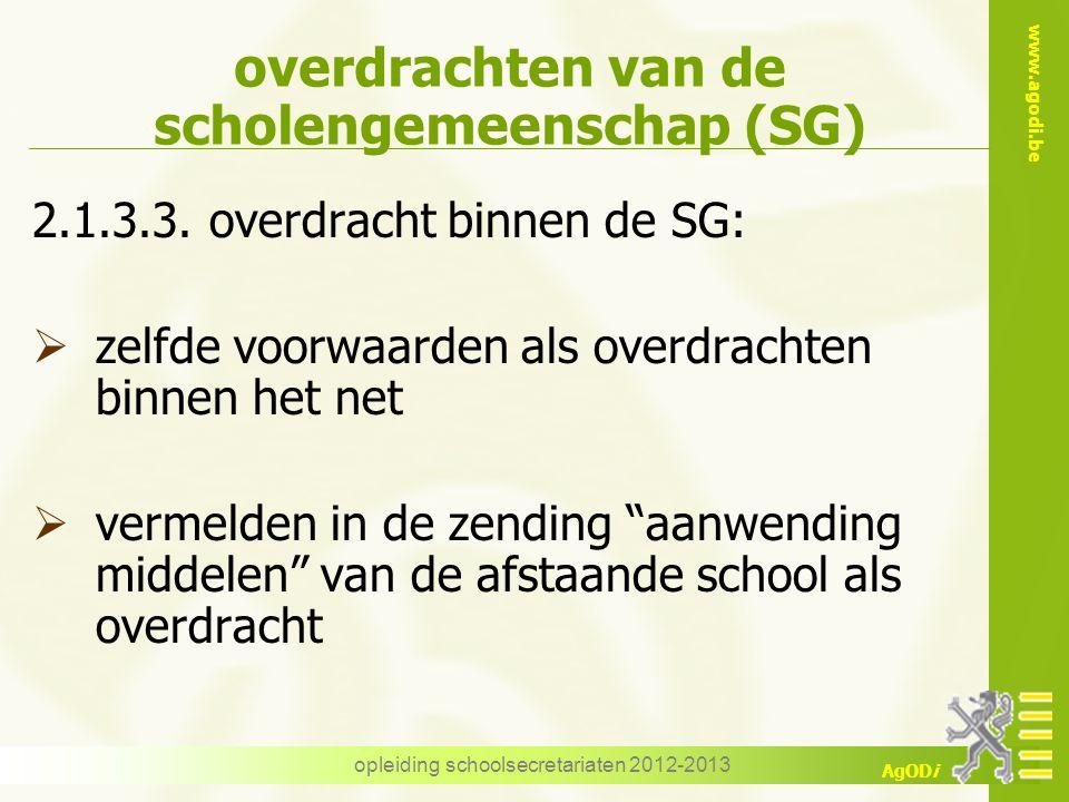 www.agodi.be AgODi opleiding schoolsecretariaten 2012-2013 overdrachten van de scholengemeenschap (SG) 2.1.3.3. overdracht binnen de SG:  zelfde voor