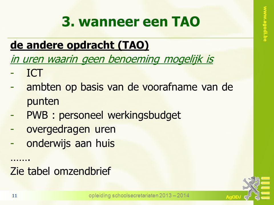 www.agodi.be AgODi wanneer een TAO - voorbeeld lic.