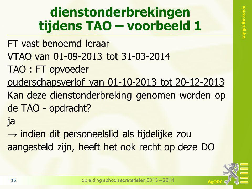 www.agodi.be AgODi 6. dienstonderbrekingen tijdens de TAO - opdracht voorwaarde indien het personeelslid als tijdelijke voldoet aan de specifieke voor