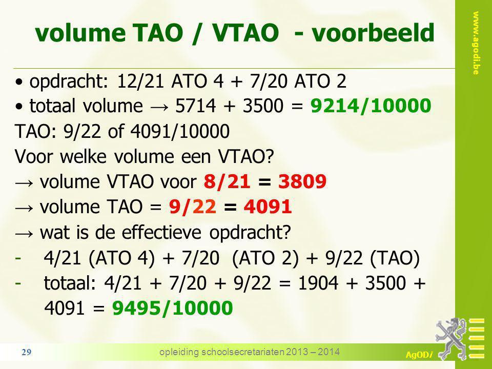 www.agodi.be AgODi 7. TAO / VTAO - volume algemene regel het VTAO mag niet leiden tot een vermindering van prestaties het gepondereerd volume van de T