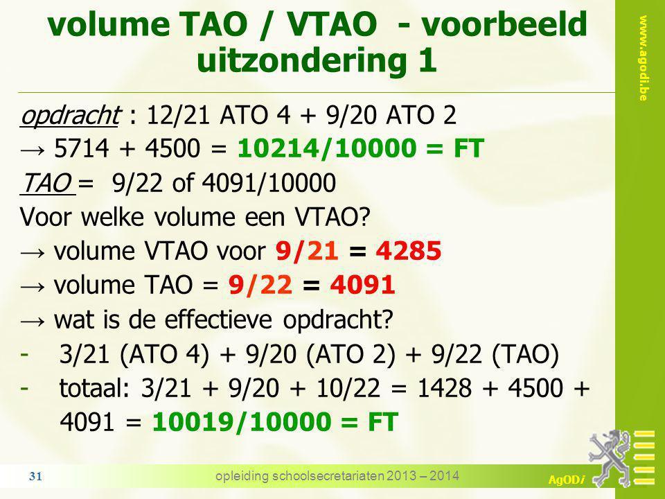 www.agodi.be AgODi 7. TAO / VTAO - volume uitzonderingen de opdracht aan de vooravond van het verlof TAO en de werkelijke opdracht = FT beperkt deelba