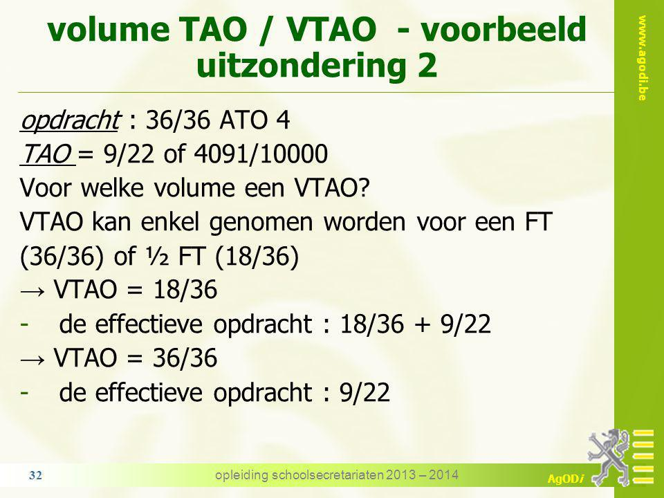 www.agodi.be AgODi volume TAO / VTAO - voorbeeld uitzondering 1 opdracht : 12/21 ATO 4 + 9/20 ATO 2 → 5714 + 4500 = 10214/10000 = FT TAO = 9/22 of 409