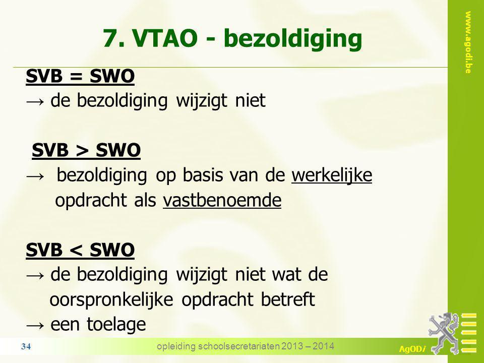 www.agodi.be AgODi 7. VTAO - bezoldiging we vergelijken SVB: het salaris van de vaste opdracht → het salaris waarop het personeelslid recht heeft indi