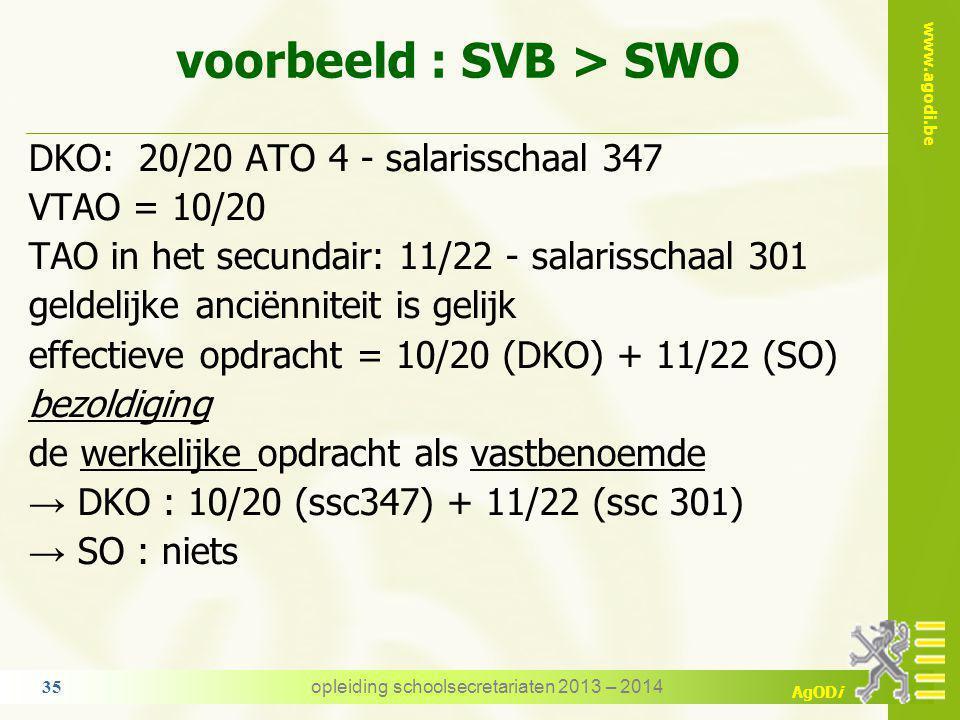 www.agodi.be AgODi 7. VTAO - bezoldiging SVB = SWO → de bezoldiging wijzigt niet SVB > SWO → bezoldiging op basis van de werkelijke opdracht als vastb