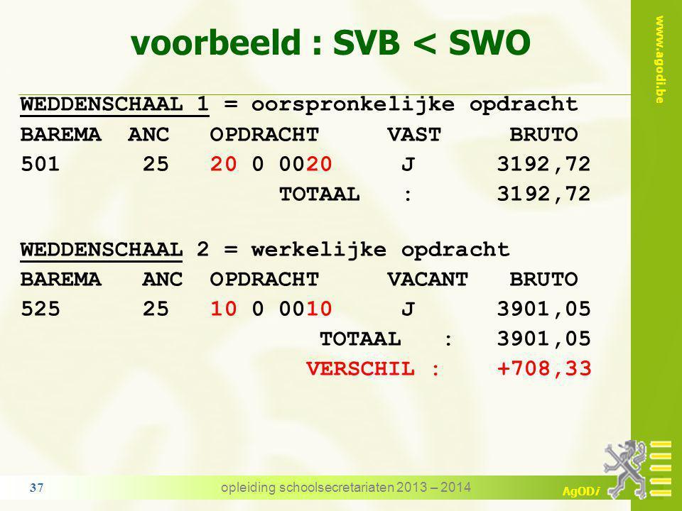 www.agodi.be AgODi voorbeeld : SVB < SWO instelling A : 20/20 ATO 4 - salarisschaal 501 VTAO voor de volledige opdracht instelling B TAO – ambt van di
