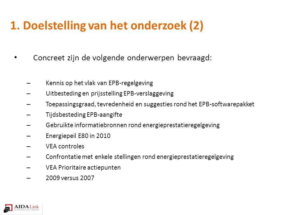1. Doelstelling van het onderzoek (2) Concreet zijn de volgende onderwerpen bevraagd: – Kennis op het vlak van EPB-regelgeving – Uitbesteding en prijs
