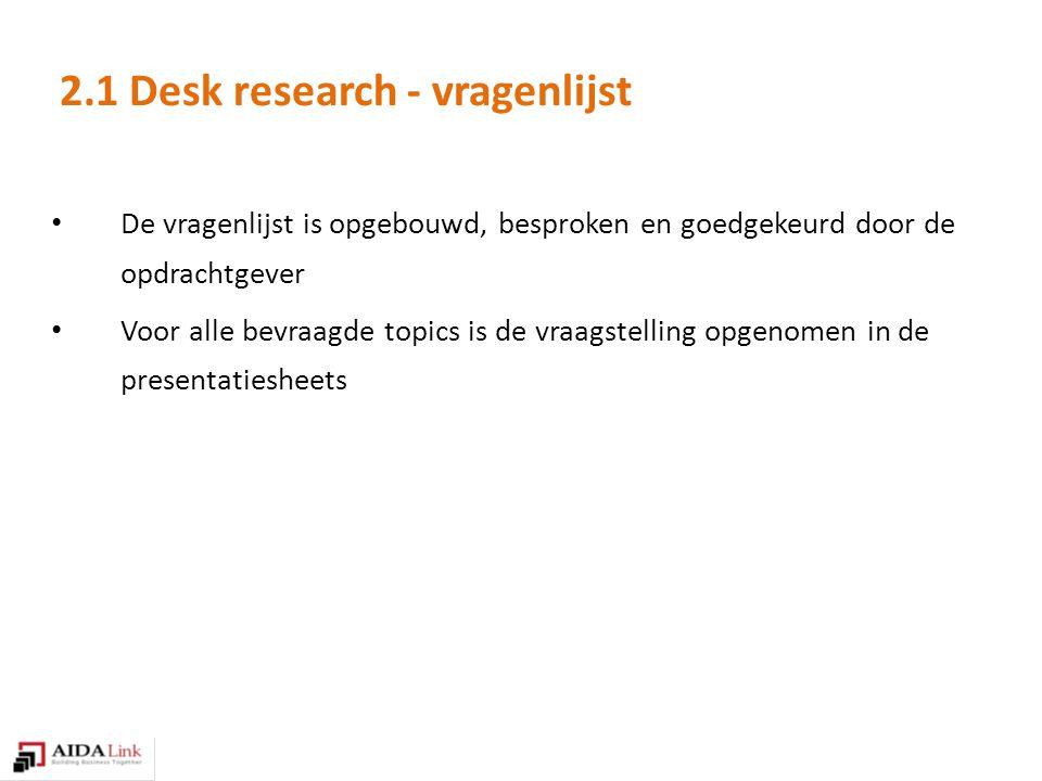 2.1 Desk research - vragenlijst De vragenlijst is opgebouwd, besproken en goedgekeurd door de opdrachtgever Voor alle bevraagde topics is de vraagstelling opgenomen in de presentatiesheets