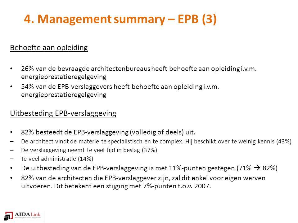 4. Management summary – EPB (3) Behoefte aan opleiding 26% van de bevraagde architectenbureaus heeft behoefte aan opleiding i.v.m. energieprestatiereg