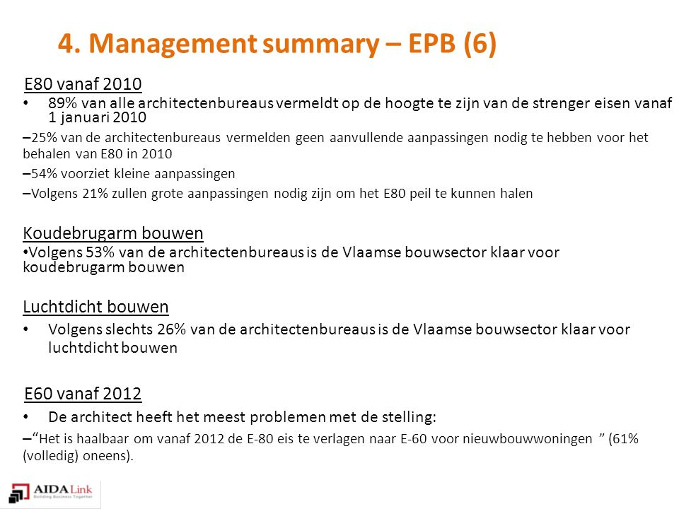 4. Management summary – EPB (6) E80 vanaf 2010 89% van alle architectenbureaus vermeldt op de hoogte te zijn van de strenger eisen vanaf 1 januari 201