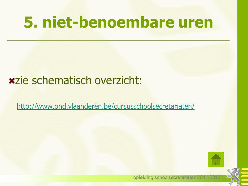 opleiding schoolsecretariaten 2011-2012 5. niet-benoembare uren zie schematisch overzicht: http://www.ond.vlaanderen.be/cursusschoolsecretariaten/