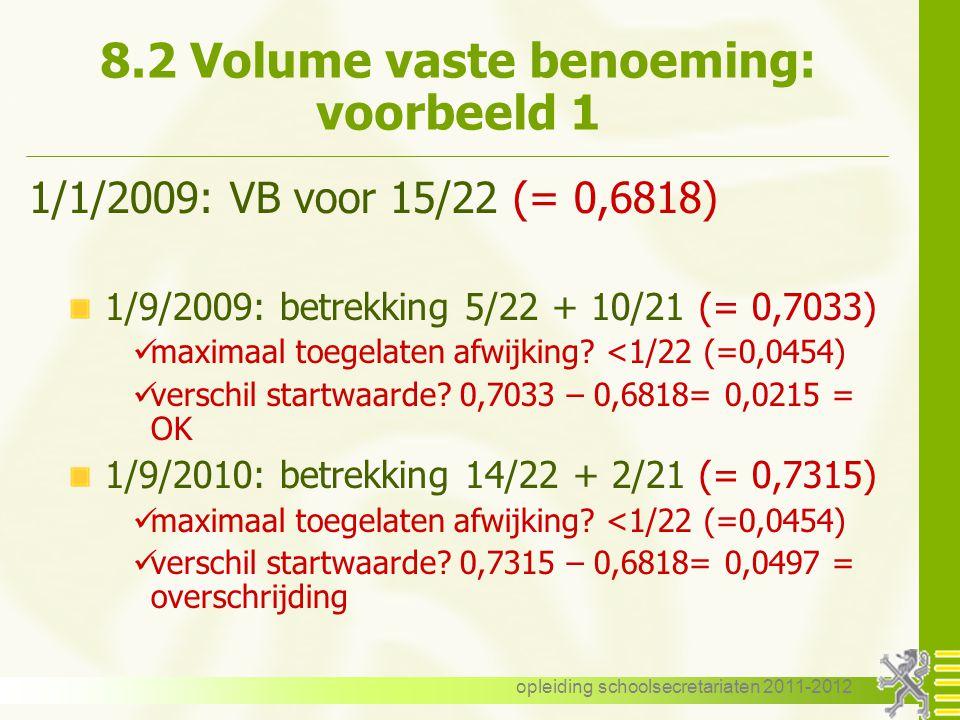 opleiding schoolsecretariaten 2011-2012 8.2 Volume vaste benoeming: voorbeeld 1 1/1/2009: VB voor 15/22 (= 0,6818) 1/9/2009: betrekking 5/22 + 10/21 (