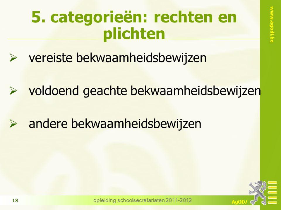 www.agodi.be AgODi opleiding schoolsecretariaten 2011-2012 18 5. categorieën: rechten en plichten  vereiste bekwaamheidsbewijzen  voldoend geachte b