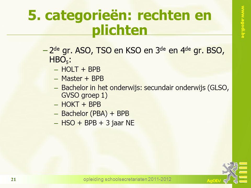 www.agodi.be AgODi opleiding schoolsecretariaten 2011-2012 21 5. categorieën: rechten en plichten −2 de gr. ASO, TSO en KSO en 3 de en 4 de gr. BSO, H