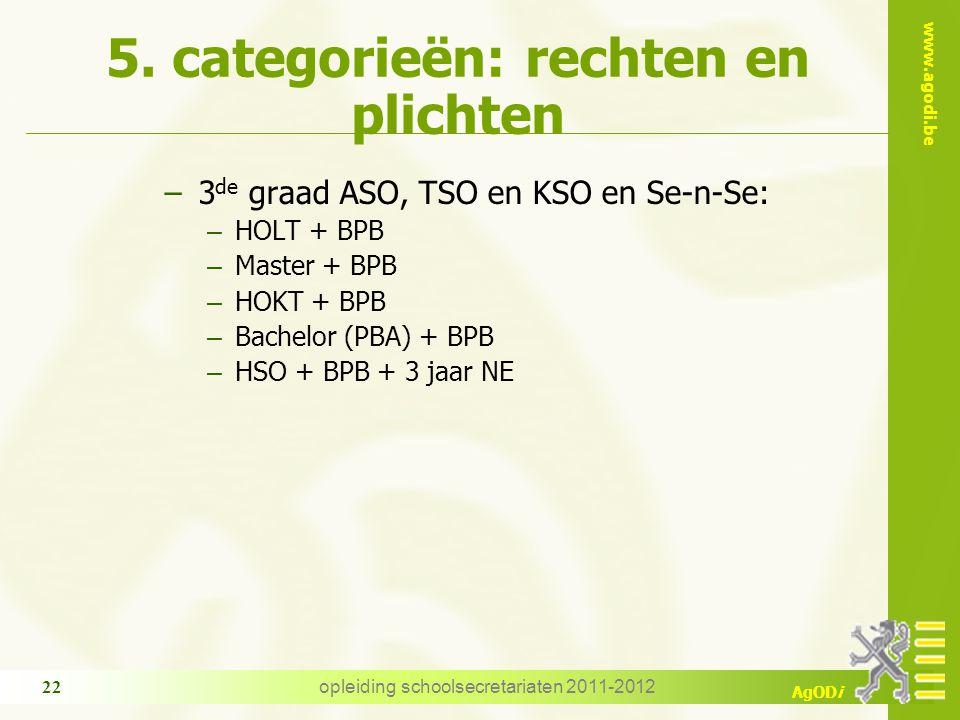 www.agodi.be AgODi opleiding schoolsecretariaten 2011-2012 22 5. categorieën: rechten en plichten − 3 de graad ASO, TSO en KSO en Se-n-Se: – HOLT + BP