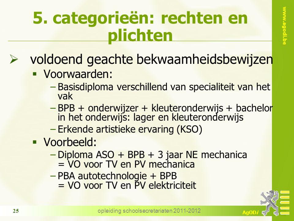 www.agodi.be AgODi opleiding schoolsecretariaten 2011-2012 25 5. categorieën: rechten en plichten  voldoend geachte bekwaamheidsbewijzen  Voorwaarde