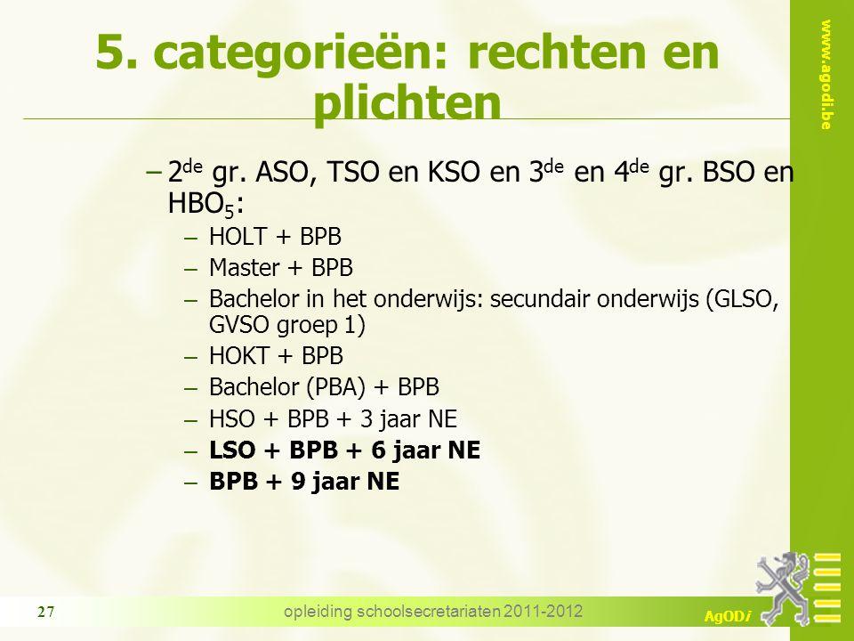www.agodi.be AgODi opleiding schoolsecretariaten 2011-2012 27 5. categorieën: rechten en plichten −2 de gr. ASO, TSO en KSO en 3 de en 4 de gr. BSO en