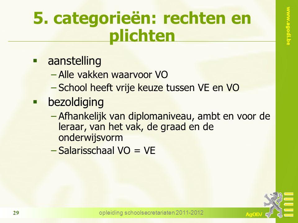 www.agodi.be AgODi opleiding schoolsecretariaten 2011-2012 29 5. categorieën: rechten en plichten  aanstelling −Alle vakken waarvoor VO −School heeft