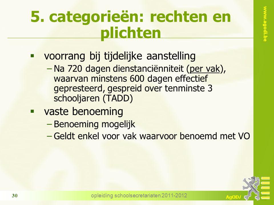 www.agodi.be AgODi opleiding schoolsecretariaten 2011-2012 30 5. categorieën: rechten en plichten  voorrang bij tijdelijke aanstelling −Na 720 dagen