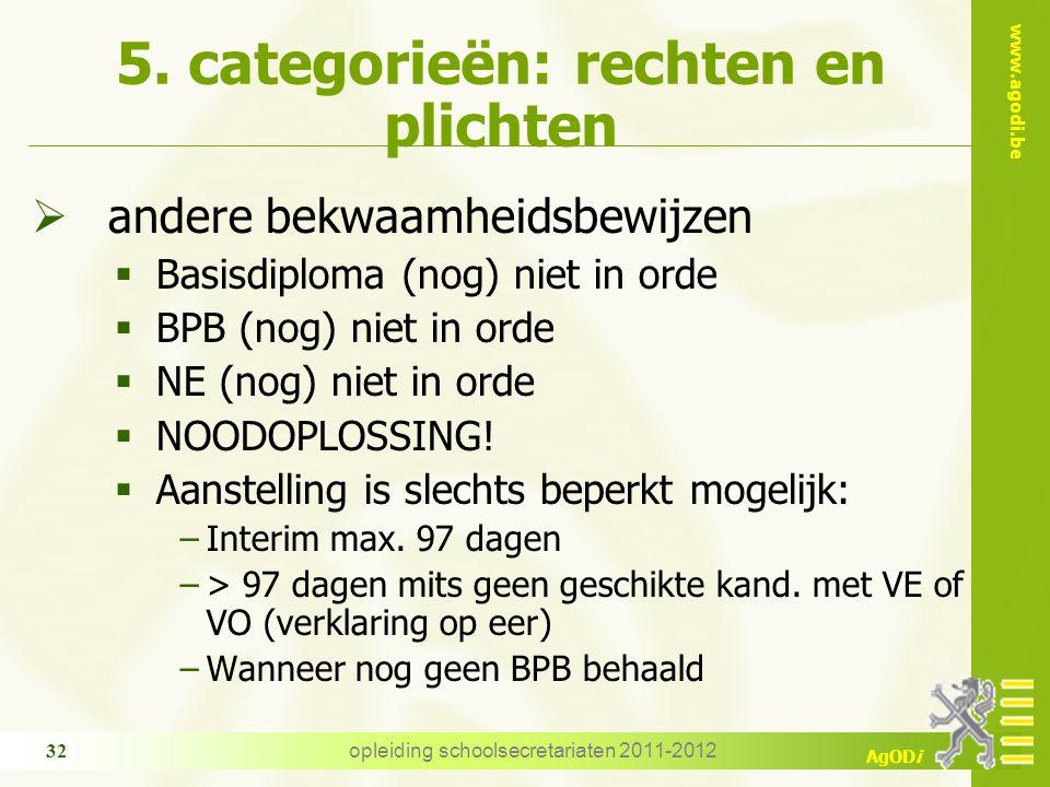 www.agodi.be AgODi opleiding schoolsecretariaten 2011-2012 32 5. categorieën: rechten en plichten  andere bekwaamheidsbewijzen  Basisdiploma (nog) n
