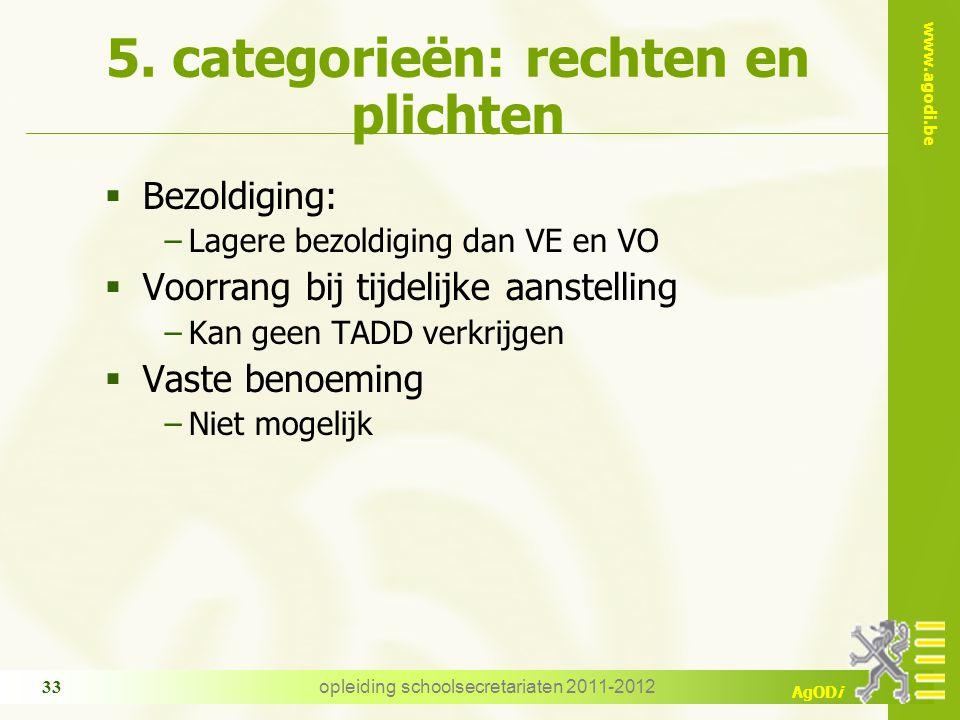 www.agodi.be AgODi opleiding schoolsecretariaten 2011-2012 33 5. categorieën: rechten en plichten  Bezoldiging: −Lagere bezoldiging dan VE en VO  Vo