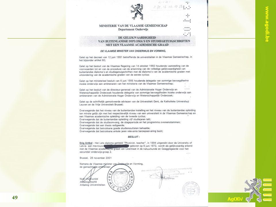 www.agodi.be AgODi opleiding schoolsecretariaten 2011-2012 49