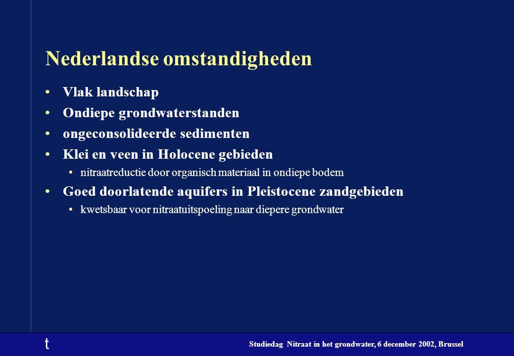 t Studiedag Nitraat in het grondwater, 6 december 2002, Brussel Nederlandse omstandigheden Vlak landschap Ondiepe grondwaterstanden ongeconsolideerde sedimenten Klei en veen in Holocene gebieden nitraatreductie door organisch materiaal in ondiepe bodem Goed doorlatende aquifers in Pleistocene zandgebieden kwetsbaar voor nitraatuitspoeling naar diepere grondwater