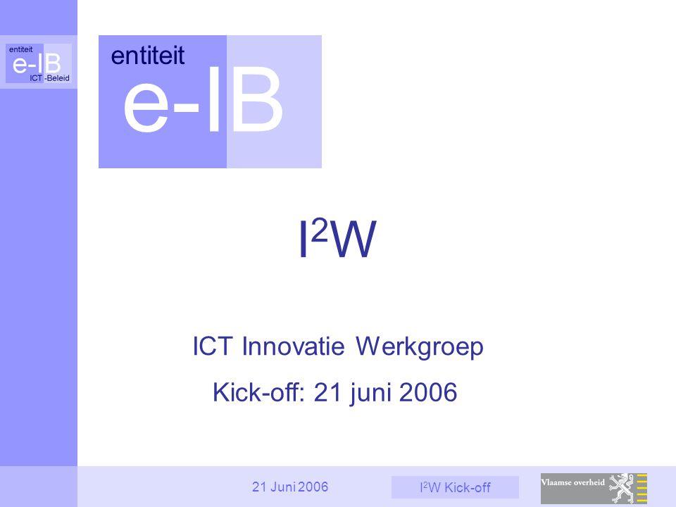I 2 W Kick-off 21 Juni 2006 Informatiebeheer Explosieve groei data -> archivering Digitaliseren van papieren documenten ECM-oplossingen (document management, collaboration, …) 2.