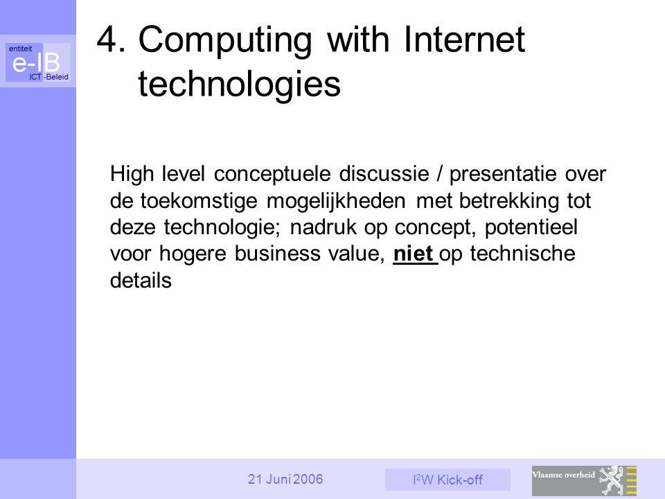 I 2 W Kick-off 21 Juni 2006 High level conceptuele discussie / presentatie over de toekomstige mogelijkheden met betrekking tot deze technologie; nadr