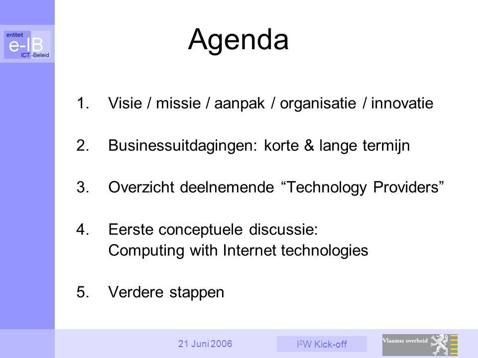 I 2 W Kick-off 21 Juni 2006 Agenda 1.Visie / missie / aanpak / organisatie / innovatie 2.Businessuitdagingen: korte & lange termijn 3.Overzicht deelnemende Technology Providers 4.Eerste conceptuele discussie: Computing with Internet technologies 5.Verdere stappen