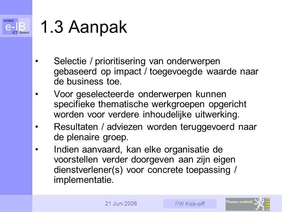 I 2 W Kick-off 21 Juni 2006 1.3 Aanpak Selectie / prioritisering van onderwerpen gebaseerd op impact / toegevoegde waarde naar de business toe. Voor g