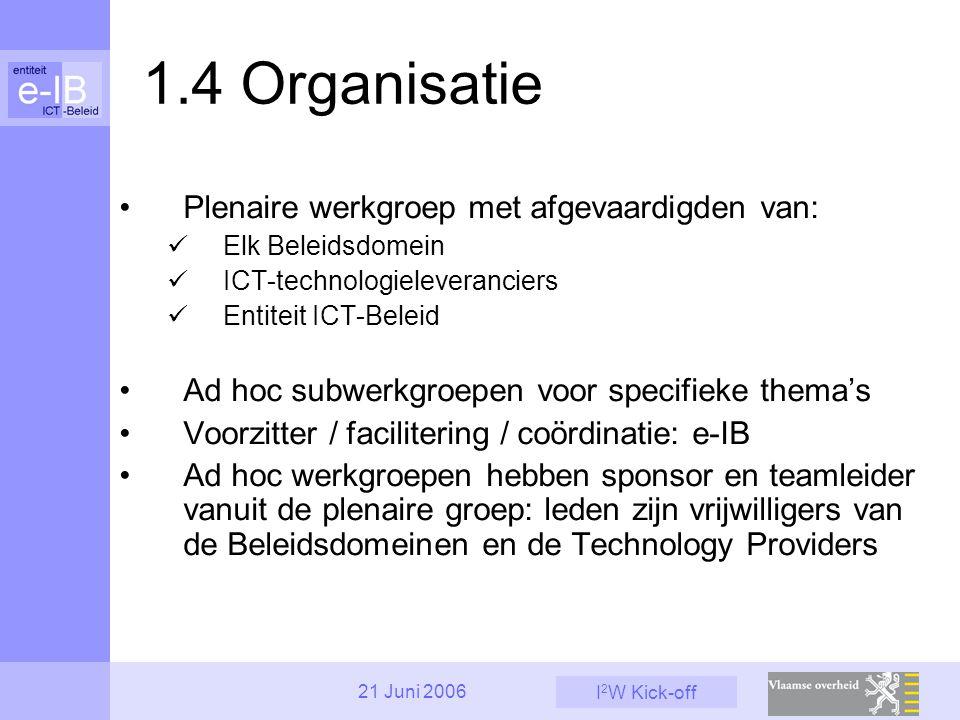 I 2 W Kick-off 21 Juni 2006 1.4 Organisatie Plenaire werkgroep met afgevaardigden van: Elk Beleidsdomein ICT-technologieleveranciers Entiteit ICT-Beleid Ad hoc subwerkgroepen voor specifieke thema's Voorzitter / facilitering / coördinatie: e-IB Ad hoc werkgroepen hebben sponsor en teamleider vanuit de plenaire groep: leden zijn vrijwilligers van de Beleidsdomeinen en de Technology Providers