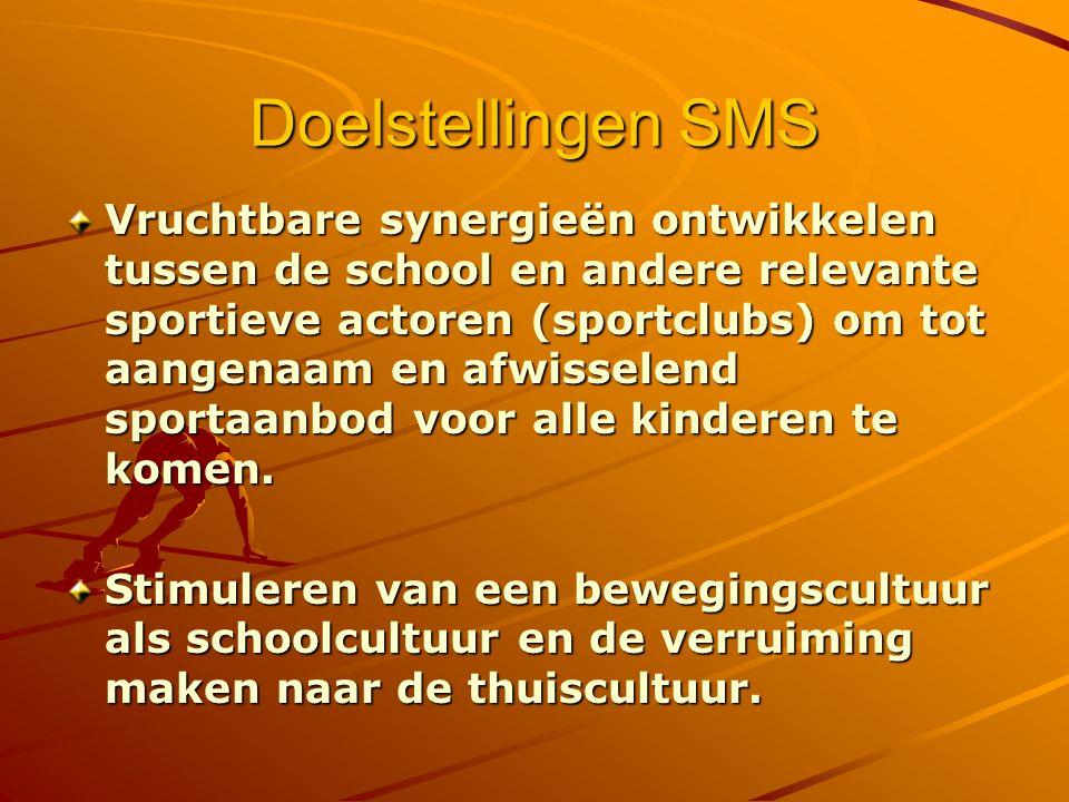 Doelstellingen SMS Vruchtbare synergieën ontwikkelen tussen de school en andere relevante sportieve actoren (sportclubs) om tot aangenaam en afwisselend sportaanbod voor alle kinderen te komen.