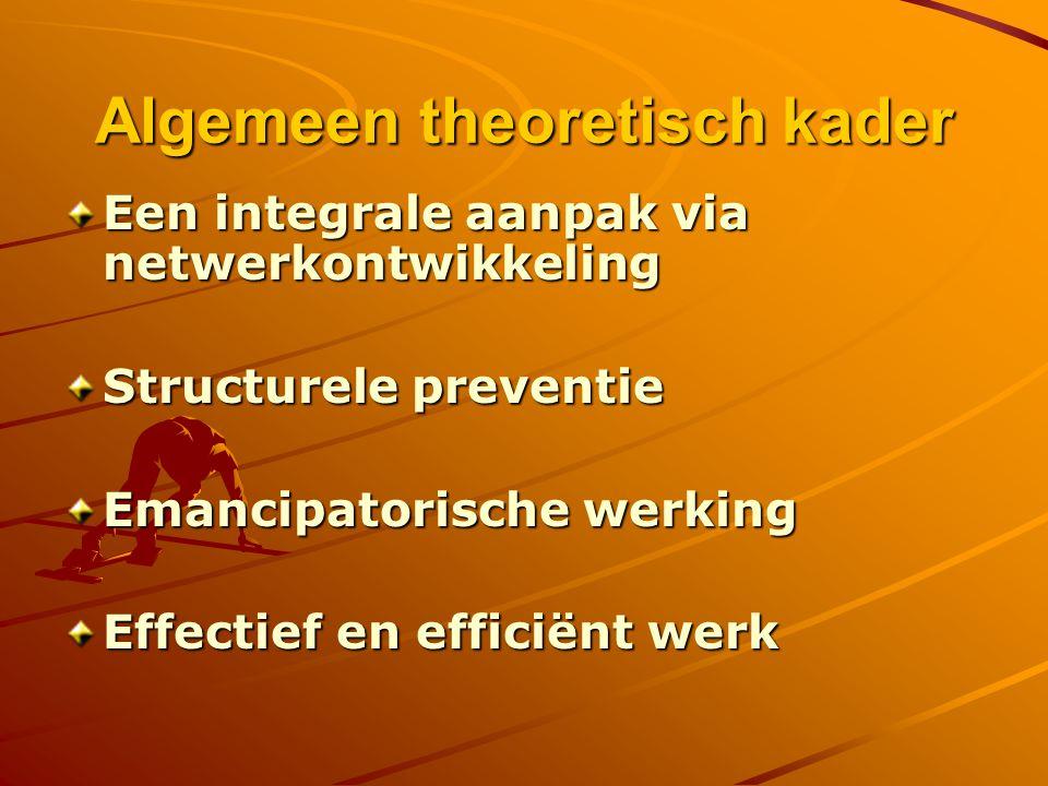Algemeen theoretisch kader Een integrale aanpak via netwerkontwikkeling Structurele preventie Emancipatorische werking Effectief en efficiënt werk
