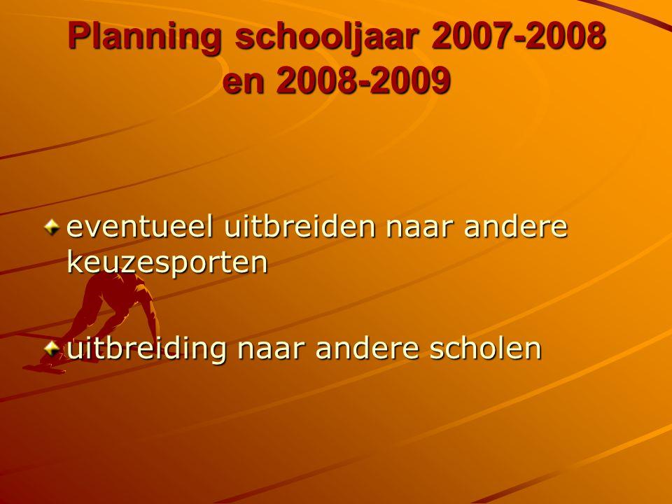 Planning schooljaar 2007-2008 en 2008-2009 eventueel uitbreiden naar andere keuzesporten uitbreiding naar andere scholen